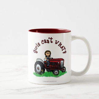 Light Red Farmer Girl Two-Tone Coffee Mug