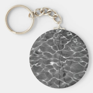 Light Reflections On Water: Black & White Basic Round Button Key Ring