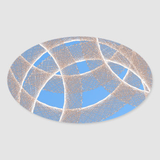 light rings in blue background abstract oval sticker