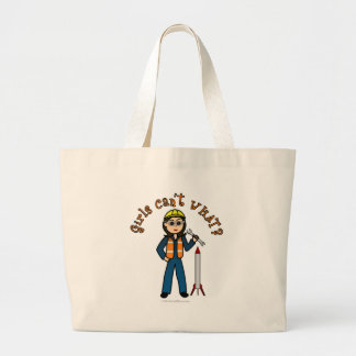 Light Rocket Scientist Girl Jumbo Tote Bag