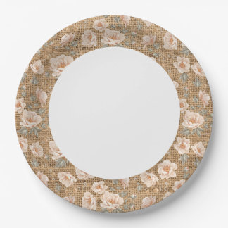 Light Rustic Burlap Sack with Floral Pattern. Paper Plate
