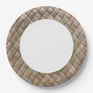 Light Rustic Seagrass Basket Weave. Paper Plate