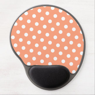 Light Salmon and White Polka Dot Gel Mouse Pad