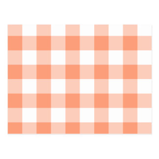 Light Salmon Gingham Pattern Postcard