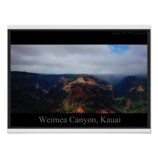 Light, Shadow and Rain at Weimea Canyon Posters