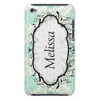 light soft shades of green and ivory damask design Case-Mate iPod touch case