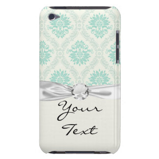 light soft shades of green and ivory damask design iPod touch case