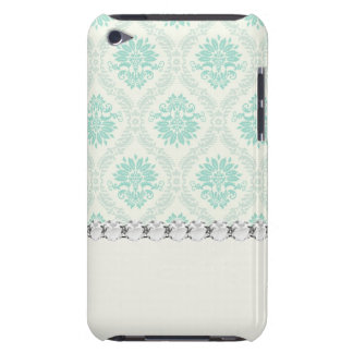 light soft shades of green and ivory damask design iPod touch cases