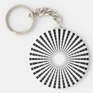 LIGHT Source - Black n White Sparkle Wheel Basic Round Button Key Ring
