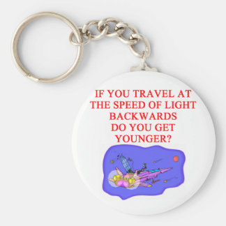 light speed phyisics joke basic round button key ring