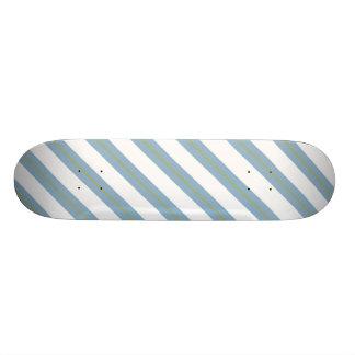 Light Steel Blue,Yellow and White Stripes Deck Custom Skate Board