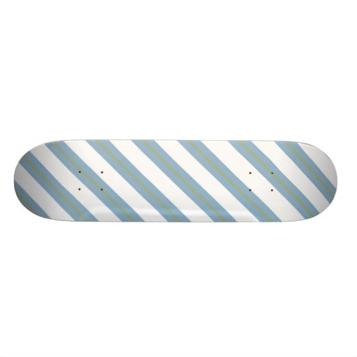 Light Steel Blue,Yellow and White Stripes Deck Custom Skate Board