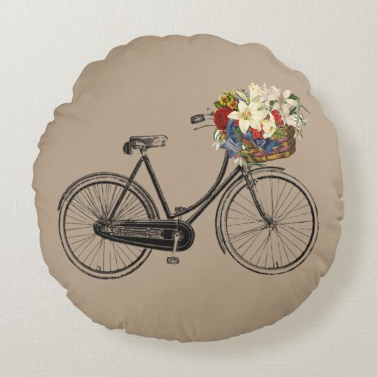 Light taupe bicycle flower cotton pillow round