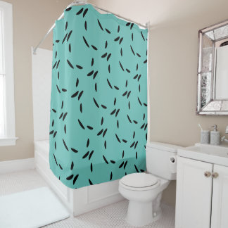 Light Teal & Black Abstract Dots Shower Curtain
