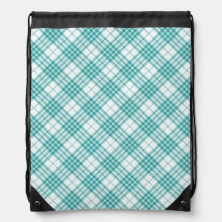 Light Teal Blue Plaid Cinch Bags