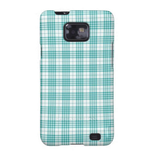 Light Teal Blue Plaid Samsung Galaxy S2 Covers