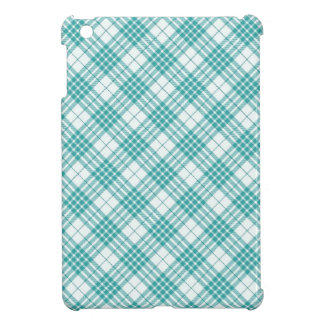 Light Teal Blue Plaid iPad Mini Cover