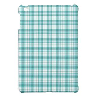 Light Teal Blue Plaid iPad Mini Case
