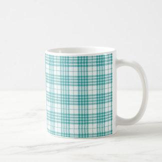 Light Teal Blue Plaid Mug