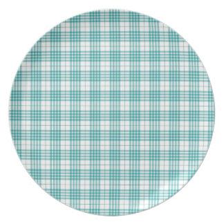 Light Teal Blue Plaid Plates