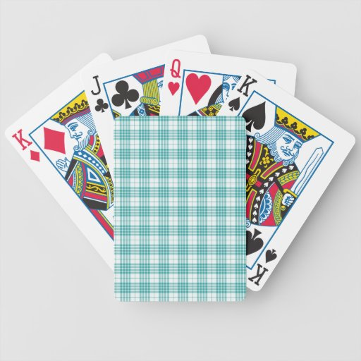 Light Teal Blue Plaid Bicycle Poker Deck