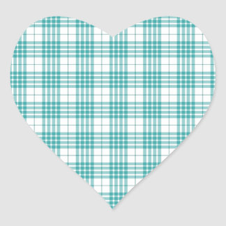Light Teal Blue Plaid Heart Stickers