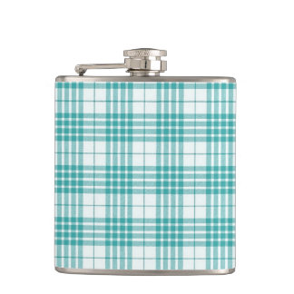 Light Teal Blue Plaid Hip Flasks