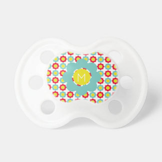 Light Teal Bright Red and Yellow Flower Monogram Dummy