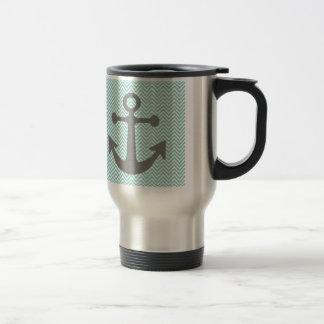 Light Teal Chevron Anchor Travel Mug