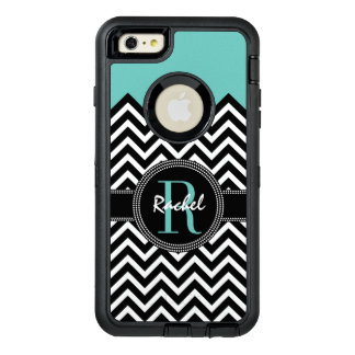 Light Teal Chevron Chic Monogrammmed OtterBox Defender iPhone Case
