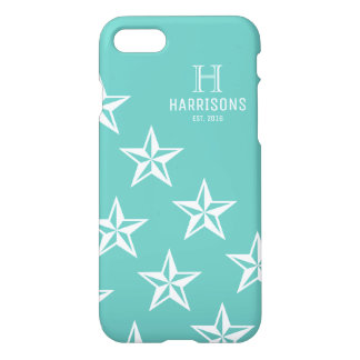 Light Teal Cute Stars Personalized Family Name iPhone 8/7 Case
