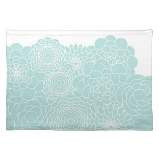Light Teal Floral Modern Abstract Flowers Place Mat