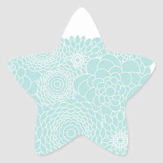 Light Teal Floral Modern Abstract Flowers Star Sticker
