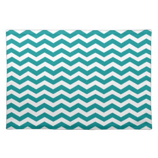 Light Teal Green And White Zigzag Chevron Pattern Place Mat