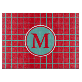 Light Teal Lattice Stripes on Bright Red Monogram Cutting Board