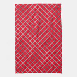 Light Teal Lattice Stripes on Bright Red Tea Towel