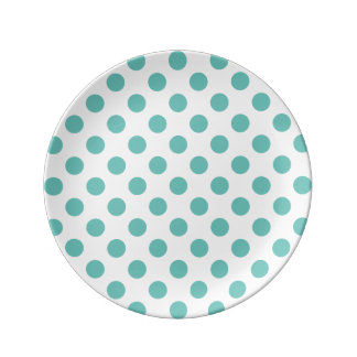 Light Teal Polka Dot Plate