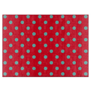 Light Teal Polka Dots on Bright Red Cutting Board