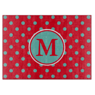 Light Teal Polka Dots on Bright Red Monogram Cutting Board