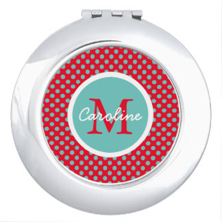 Light Teal Polka Dots on Bright Red Monogram Mirror For Makeup