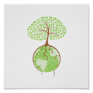 light tree on world eco design.png poster