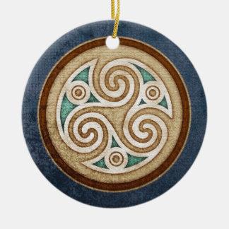 Light Triskele Pendant/Ornament Ceramic Ornament