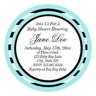 Light Turquoise babyshower 13 Cm X 13 Cm Square Invitation Card