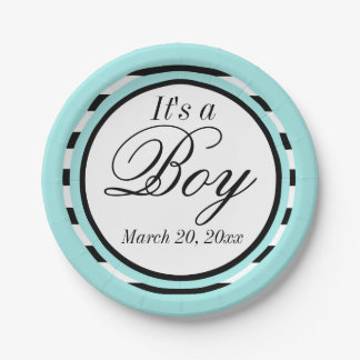 Light Turquoise babyshower 7 Inch Paper Plate