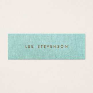 Light Turquoise Blue Linen Look Minimalist Mini Business Card