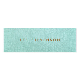 Light Turquoise Blue Linen Look Minimalist Pack Of Skinny Business Cards