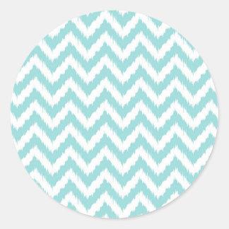 Light Turquoise Chevron Pattern Round Sticker