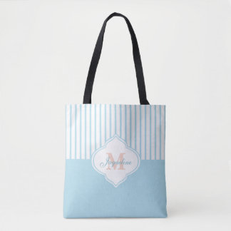 Light Turquoise Colorblock Stripe Monogram Tote Bag