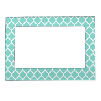 Light Turquoise White Moroccan Lattice Magnetic Picture Frame
