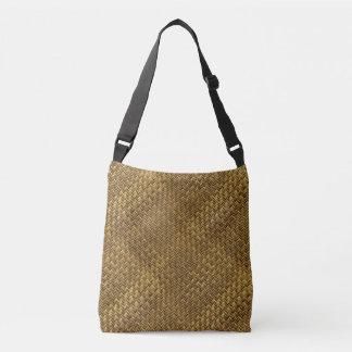 Light Twill Basket Weave Pattern Crossbody Bag
